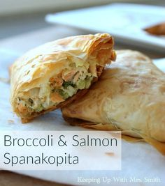 ... Broccoli Salmon Spanakopita. Crispy phyllo dough filled with broccoli