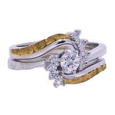 Women's Custom Alaskan Gold Nugget and Diamond Wedding Ring. Style#: GRST10983W - Gold Nugget Jewelry by Alaskan Gold Rush Fine Jewelry - Fairbanks, Alaska - 907-456-4991 - Call for price and availability.