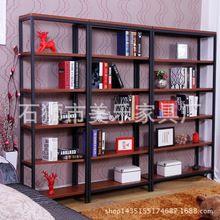Americano criativo prateleiras chão livros prateleira estante do vintage ferro forjado sala de estar de madeira prateleira prateleira estante(China (Mainland))