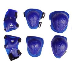 Kids' Cycling Protective Gear - Cooplay 6Pcs Set Sports Cycling Roller Skating pads Extreme Sports Protective Gear kid childrens Wrist Elbow Knee ProtectorComplete Set  Hands Knees and Elbows blue -- For more information, visit image link.