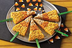 Candy corn and RICE KRISPIES TREATS—two inherently fun eats—seem twice as fun when served on a stick. As Halloween treats go, it's a win-win-win.