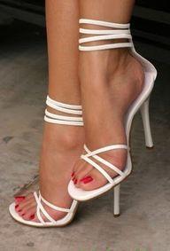 strappy white stiletto heels