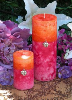 Summer Sunset Pillar Candles by White Magick Alchemy Candle Art, Candle Magic, Candle Lanterns, Fancy Candles, Diy Candles, Pillar Candles, Orange Candles, Chandeliers, Spot Design