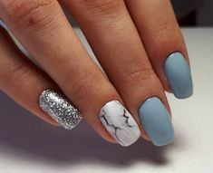 Cold nails, Cute nails, Festive nails, Gentle winter nails, Light blue nails, Manicure 2018, Marble nails, Winter nail art