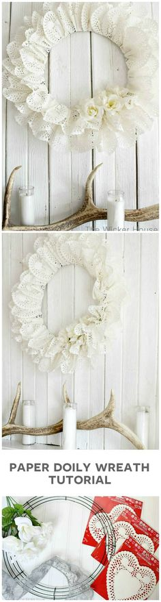 Just in time to hit up the Valentine's Day clearance! This adorable DIY wreath is gorgeous for spring decor, a lovely little girl's room, or even a shabby chic birthday party! Doilies Crafts, Paper Doilies, Wreath Crafts, Diy Wreath, Diy And Crafts, Paper Crafts, Diy Paper, Fabric Crafts, Shabby Chic Birthday