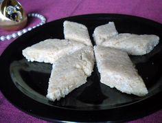 Cashew Coconut Burfi, made by first soaking cashews in milk