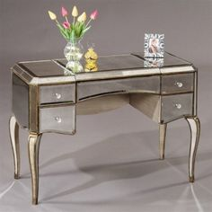 Collette Mirrored Vintage Vanity Table by IVG