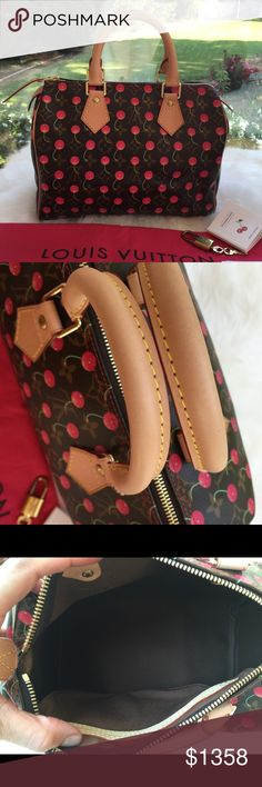 """Louis Vuitton Cerises Cherry Monogram Speedy 25 Beautiful LV bag, Excellent condition. Never been used, some tarnished hardware due to its age. Limited edition. Date code in 2004. Collectible item, comes with booklet, key, lock, dust bag. Size: 7""""h x 10""""w x 5.5""""d, drop 3"""" 100% authentic!!! (Note that this's the lowest price I can accept in the Poshmark market, so not negotiable and I m not interested in trading. Thanks) Louis Vuitton Bags Satchels"""
