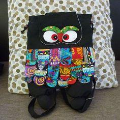 Owl backpack ethnic bag back top school black bag by WorkoutShirts