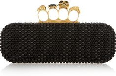 Alexander McQueen Skull leather knuckle box clutch