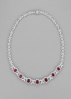A Ruby and Diamond Necklace #rubynecklace