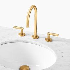 Mid Century Single Bathroom Vanity - White | West Elm Bathroom Hardware, Bathroom Sink Faucets, Shower Faucet, Concrete Bathroom, Shower Tiles, Brass Bathroom Fixtures, Bathroom Tubs, Widespread Bathroom Faucet, Kitchen Faucets