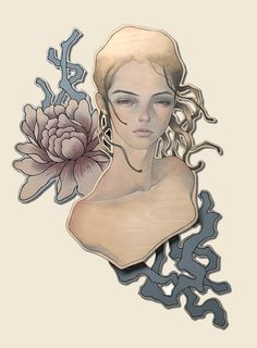 Audrey Kawasaki - Sora - oil and graphite on wood 15″x21″ - Space Yui in Tokyo - 2009