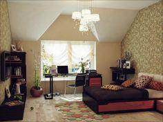 Red black beige bedroom sloped ceiling