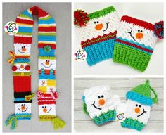 Free Pattern: Sampler Snowman Boot Cuffs ~ Snappy Tots I LOVE snowmen. Their cute little faces make me smile. One of my most favorite (and popular) designs is my Crochet Kids Scarf, Crochet Mittens, Crochet For Kids, Crochet Headbands, Knit Headband, Baby Headbands, Crochet Granny, Crochet Scarves, Hand Crochet