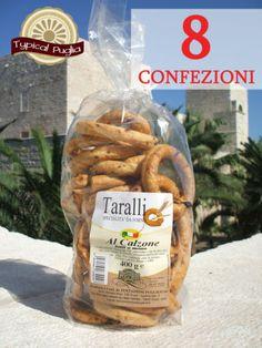 8 CONFEZIONI DI TARALLI AL CALZONE PUGLIESE FATTI A MANO 400 gr.