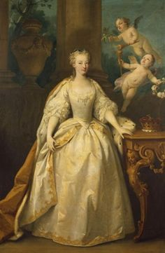 """Anne, Princess Royal"" by Jacopo Amigoni (1734) in the Royal Collection, UK - From the curators' comments: ""The Princess is presented in a white dress with an ermine-lined cloak and a crown on the table beside her. Two flying cherubs bring together two torches (of Hymen, god of marriage) to symbolise the commingling of their flames in loving matrimony. One holds roses and the other orange blossoms, alluding to the house of Orange and Tudor (from which the Hanoverians descended)."""