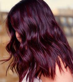 Dark Maroon Hair, Burgundy Hair With Highlights, Red Burgundy Hair Color, Deep Burgundy Hair, Wine Red Hair Color, Violet Red Hair Color, Wine Colored Hair, Dark Red Hair Burgundy, Dyed Hair