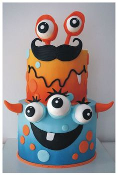 Monstrous cake for my son's class Monster Cakes, Monster Party, Ugly Dolls, Easy Cake Decorating, Cakes For Boys, Niece And Nephew, Fancy Cakes, Cakes And More, Cake Pops
