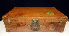 ANTIQUE LOUIS VUITTON Leather Steamer TRUNK Suitcase Chest Circa 1900 Vintage | eBay