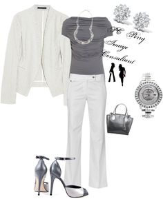 """Summer Business Power Suit"" by pcpperry ❤ liked on Polyvore"