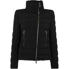 Moncler Antigone black quilted shell jacket ($1,020) ❤ liked on Polyvore featuring outerwear, jackets, quilted jacket, shell jacket, asymmetrical zipper jacket, moncler jacket and zipper jacket