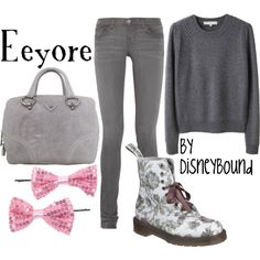 Eeyore from Winnie the Pooh.  Totally loving those boots, are they Doc Martens?  So cute!