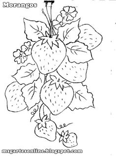 super coloring three strawberries in one branch embroidery
