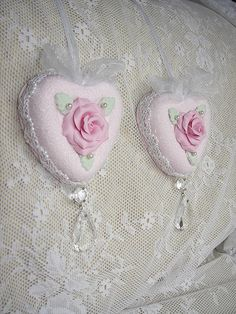 Pink Clay Rose Heart Christmas Ornament with Prisms Shabby Cottage Chic Glass Glitter Rose Brook Cottage ebay