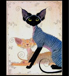 Large ltd edit black smoke and red devon rex cat painting print suzanne le good Sphynx, I Love Cats, Cute Cats, Dobby Cat, Illustration Photo, Illustrations, Devon Rex Cats, Cornish Rex Cat, Sphinx Cat