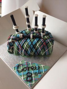 My sons 8th Birthday Cake...Bagpipes!! - Cake by Julie Anderson