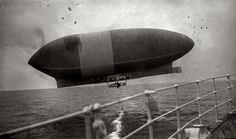 Oct. 15, 1910. Wellman airship seen from Trent. Walter Wellmans hydrogen dirigible America just before being abandoned by its crew near Bermuda, 1,370 miles into an attempt to cross the Atlantic from New Jersey. Its engines having failed, the America drifted out of sight, never to be seen again.