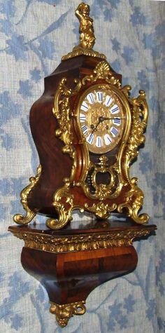 Antique LENZKIRCH Burr Walnut & Gilt Bronze Bracket Clock & Bracket