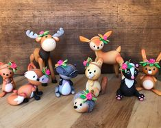 Brand new Unique Woodland cake topper creatures 9 pcs Set, Birthday , nursery, Party and decoration wedding, Gorgeous Tope de torta.Items similar to Handmade felt hearts set of 6 on Etsy