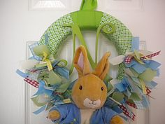 Peter Rabbit  New Baby Ribbon Wreath in Gingham by DaisyTags, $70.00