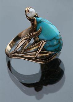 ART NOUVEAU Ring Gold Turquoise Pearl  D  2.40 cm (0.94 in)  OriginAmerican, c. 1900 CaseRing Case Ring Size|UK: M|   |US: 6.25|   |EU: 52.5|   |Asia: 12| Art Nouveau Ring
