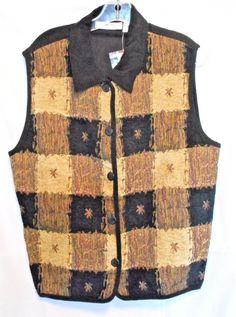 NEW Dressbarn Sleeveless Button Front Top Black/Brown Size 14/16 Cotton Blend  #dressbarn #ButtonDownShirt #Career