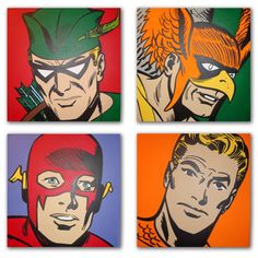 "Classic Justice League Heroes: Green Arrow, Hawkman, Flash and Aquaman. Acrylic on Canvas. Four (20"" X 20"") Paintings."