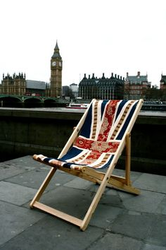 Union Jack Flag Deck Chair Recliner Folding Timber Frame by ByeBrytshi. £80.00, via Etsy.