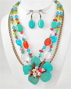 Chunky Turquoise Beaded Flower Gold Earring Necklace Set Fashion Costume Jewelry