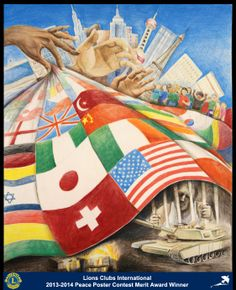 Merit Award Winner, Kevin Ge, from New Jersey, USA (Edison Metro Lions Club) - 2013-2014 Lions Clubs International Peace Poster Contest