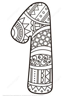 number-1-one-zentangle-coloring-page.png (340×480)