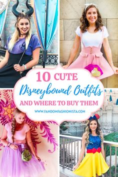 Looking for cute Disneybound outfit ideas? Check out this blog to see 10 adorable Disneybound outfits and where to buy them! Including Snow White, Rapunzel, Sleeping Beauty, and more! #disneybound #disneystyle #disneyprincess Princess Inspired Outfits, Disney Princess Outfits, Cute Disney Outfits, Disney World Outfits, Disney World Vacation, Disney Vacations, Disney Fashion, Disney Vacation Outfits, Disneyland Trip
