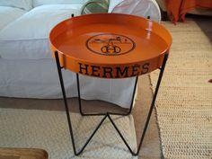 "Hermes Paris Logo Orange Replica Round Tray Table Metal Handmade 18"" x 2"""