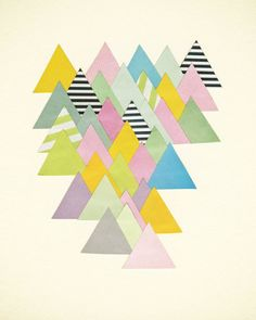 Landscape Art, Geometric Shapes, Triangles, Paper Collage, Bedroom Decor, Giclee Print - French Alps op Etsy, 21,31€