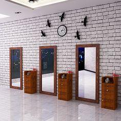 Vintage américain Salon miroir cheveux salon coiffure Boutique miroir solide bois unique mirror mirror étage miroir