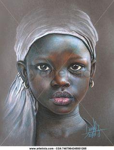 African Girl 100 by Dora-Alis on DeviantArt African Children, African Girl, African American Art, African Beauty, Black Girl Art, Black Women Art, African Art Paintings, African Drawings, Pastel Portraits
