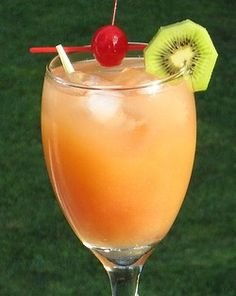 Gilligan's Island - 1 oz. Vodka, 1 oz. Peach Schnapps, 3 oz. Orange Juice, 3 oz. Cranberry Juice, Cherry and/or Slice of fruit to garnish - Combine all of the liquids into an ice filled cocktail shaker.  Cover, shake well, and pour into your favorite cocktail glass.