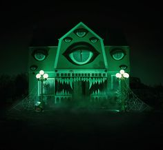 Christine McConnell, the incredibly talented artist and photographer whose terrifying cakes we wrote about earlier, has just shared a creepy set of Halloween decorations that she created for her parents' home. Using hand-painted foamboard designs, she turned her parents' house into a giant, fanged, sleepless house-monster.