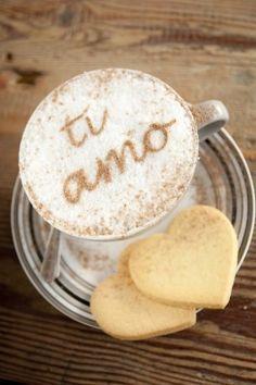 Ti Amo written in chocolate on a Cappuccino,means I Love You in Italian   - stock photo